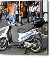 Napoli Police Scooter Canvas Print