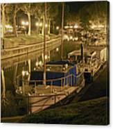 Narbonne France Canal De La Robine At Night Dsc01657  Canvas Print