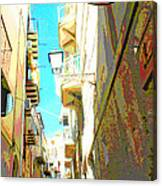 Narrow Street Cefalu Italy Digital Art Canvas Print