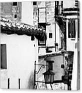 Narrow Streets Of Albarracin  Black And White Canvas Print