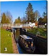 Narrowboat In Lock Canvas Print