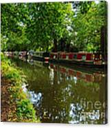 Narrowboats Moored On The Wey Navigation In Surrey Canvas Print