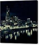 Nashville Skyline Reflected At Night Canvas Print
