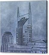 Nashville Skyline Sketch Canvas Print