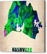 Nashville Watercolor Map Canvas Print