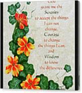 Nasturtiums And Serenity Prayer Canvas Print