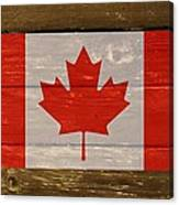 Canada National Flag On Wood Canvas Print
