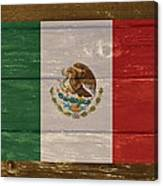 Mexico National Flag On Wood Canvas Print