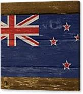 New Zealand National Flag On Wood Canvas Print