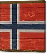 Norway National Flag On Wood Canvas Print