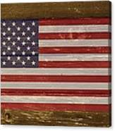 United States Of America National Flag On Wood Canvas Print