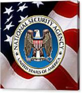 National Security Agency - N S A Emblem Emblem Over American Flag Canvas Print