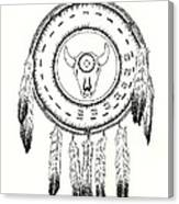 Native American Ceremonial Shield Number 2 Black And White Canvas Print