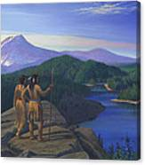 Native American Indian Maiden And Warrior Watching Bear Western Mountain Landscape Canvas Print