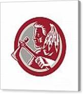Native American Tomahawk Warrior Circle Canvas Print