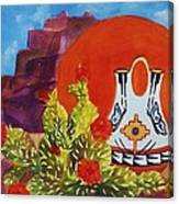 Native American Wedding Vase And Cactus Canvas Print