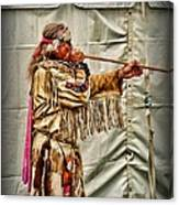 Native American With Blowgun Canvas Print