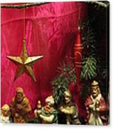 Nativity Scene In Red Canvas Print