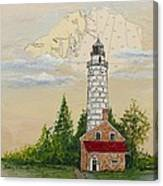 Nautical Chart Cana Island Lighthouse Canvas Print