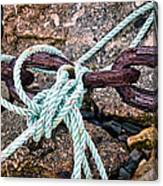 Nautical Lines And Rusty Chains Canvas Print