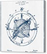 Nautical Observation Apparatus Patent From 1895  -  Blue Ink Canvas Print