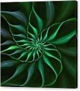 Nautilus Fractalus Verdant Green Canvas Print