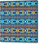 Navajo Blue Pattern Canvas Print