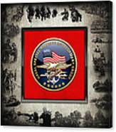 Naval Special Warfare Development Group - D E V G R U - Emblem Over Navy S E A Ls Collage Canvas Print