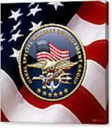 Naval Special Warfare Development Group - D E V G R U - Emblem Over U. S. Flag Canvas Print