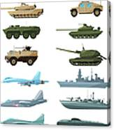 Naval Vehicles, Airplanes And Different Canvas Print