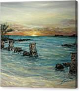 Navy Beach Seaside Sunset Canvas Print
