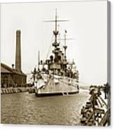 Navy Cruiser Uss New York Going Into Dry Dock San Francisco Circa 1903 Canvas Print
