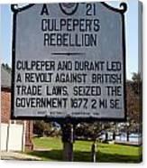 Nc-a21 Culpepers Rebellion Canvas Print