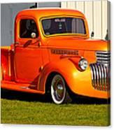 Neat Vintage Chevrolet Truck In Bright Orange Canvas Print