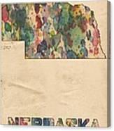 Nebraska Map Vintage Watercolor Canvas Print
