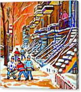Neighborhood Street Hockey Game Last Call Time For Dinner  Montreal Winter Scene Art Carole Spandau Canvas Print