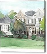 Neighbors House Watercolor Portrait Canvas Print