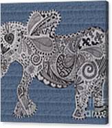 Nelly The Elephant Denim Canvas Print