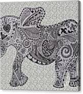 Nelly The Elephant Grey Canvas Print