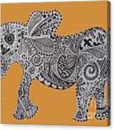 Nelly The Elephant Orange Canvas Print