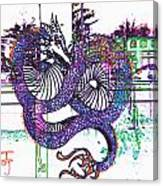 Neon Dragon In High Contrast Canvas Print