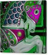 Neon Green Carousel Horse Canvas Print