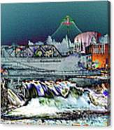 Neon Lights Of Spokane Falls Canvas Print
