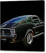 Neon Mustang Fastback 1967 Canvas Print