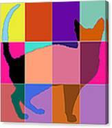Neon Panels Cat Canvas Print