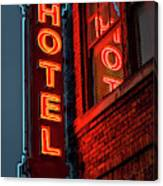 Neon Sign For Hotel In Texas Canvas Print