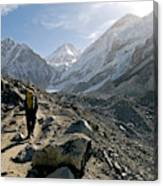 Nepal A Trekker On The Everest Base Canvas Print