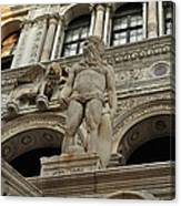 Neptune And The Lion Atop The Giants Staircase Canvas Print