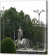 Neptune Fountain In Madrid Canvas Print