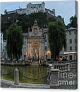 Neptune Fountain In Salzburg Austria Canvas Print